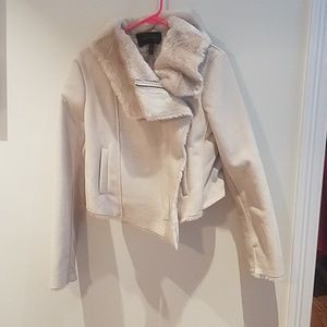 Bcbg ivory suede bomber with faux. Fur